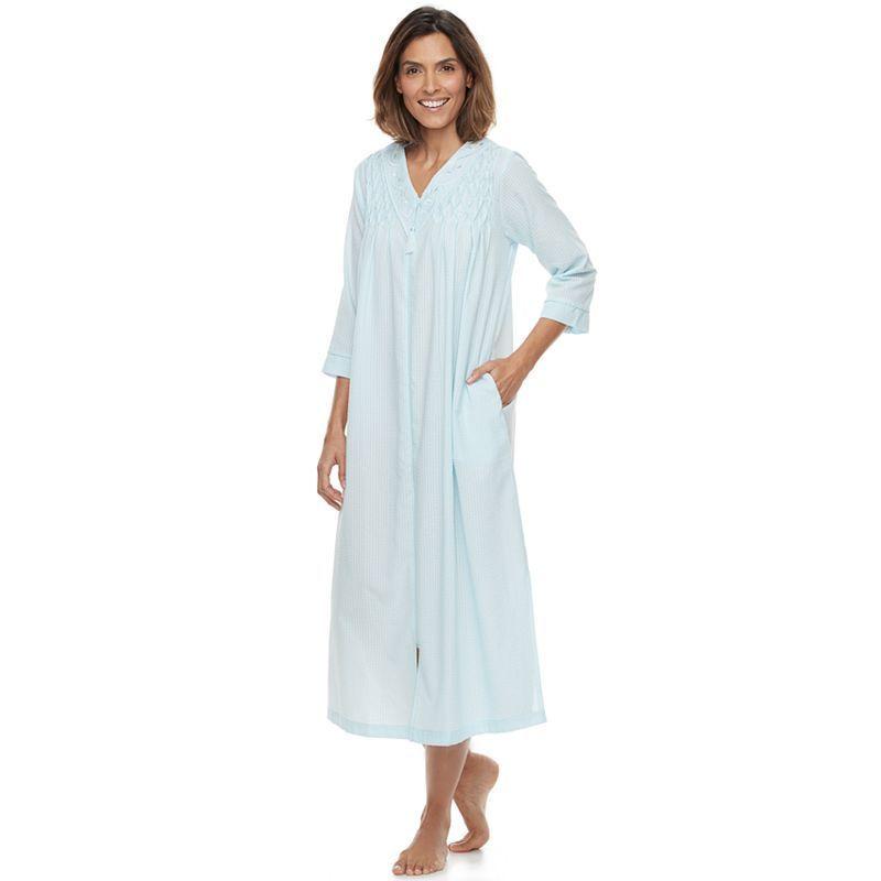 2106fb53f7 Women s Miss Elaine Essentials Seersucker Zip Front Long Robe ...