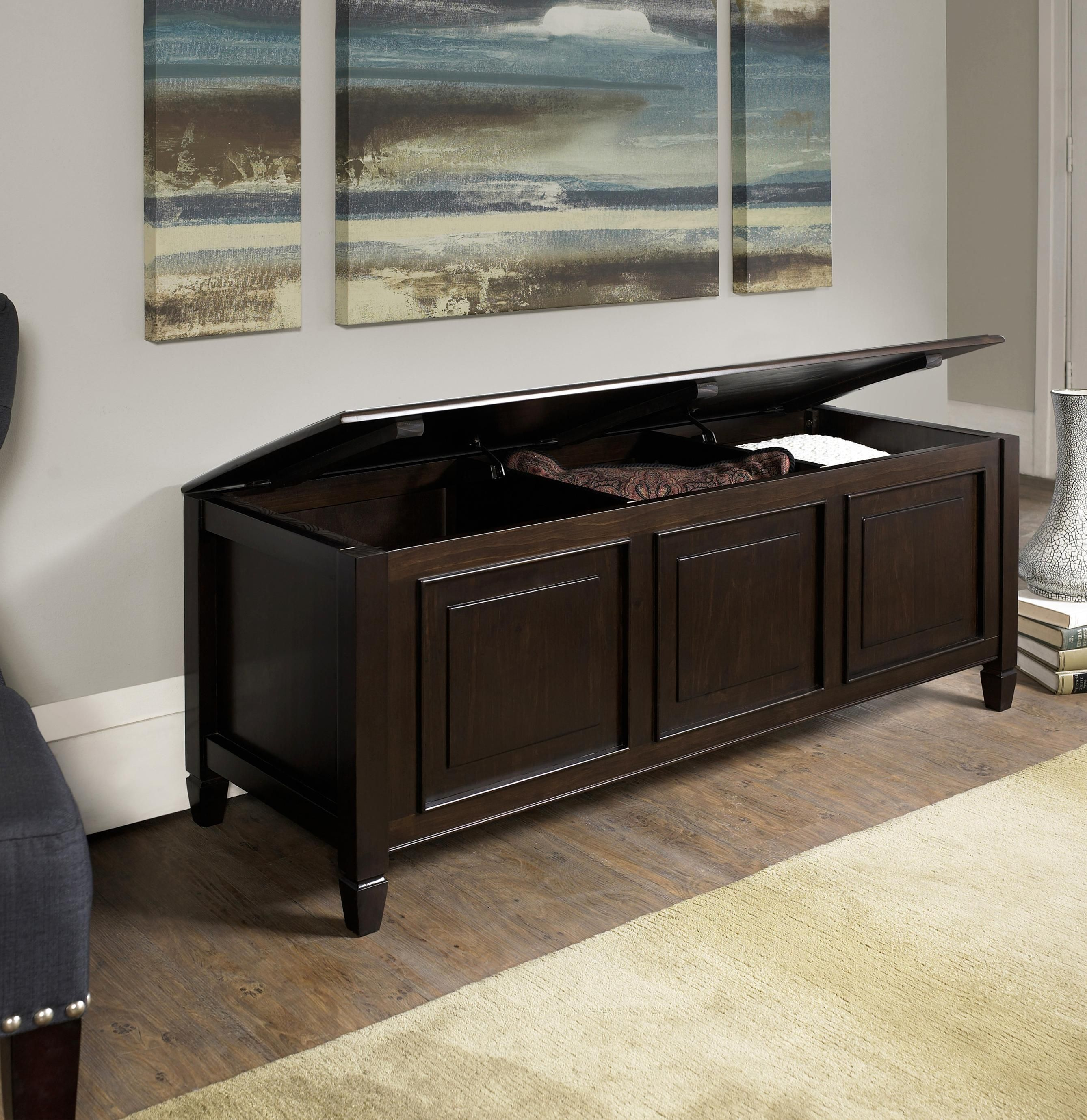 Amazon Com Simpli Home Connaught Solid Wood Storage Bench Trunk