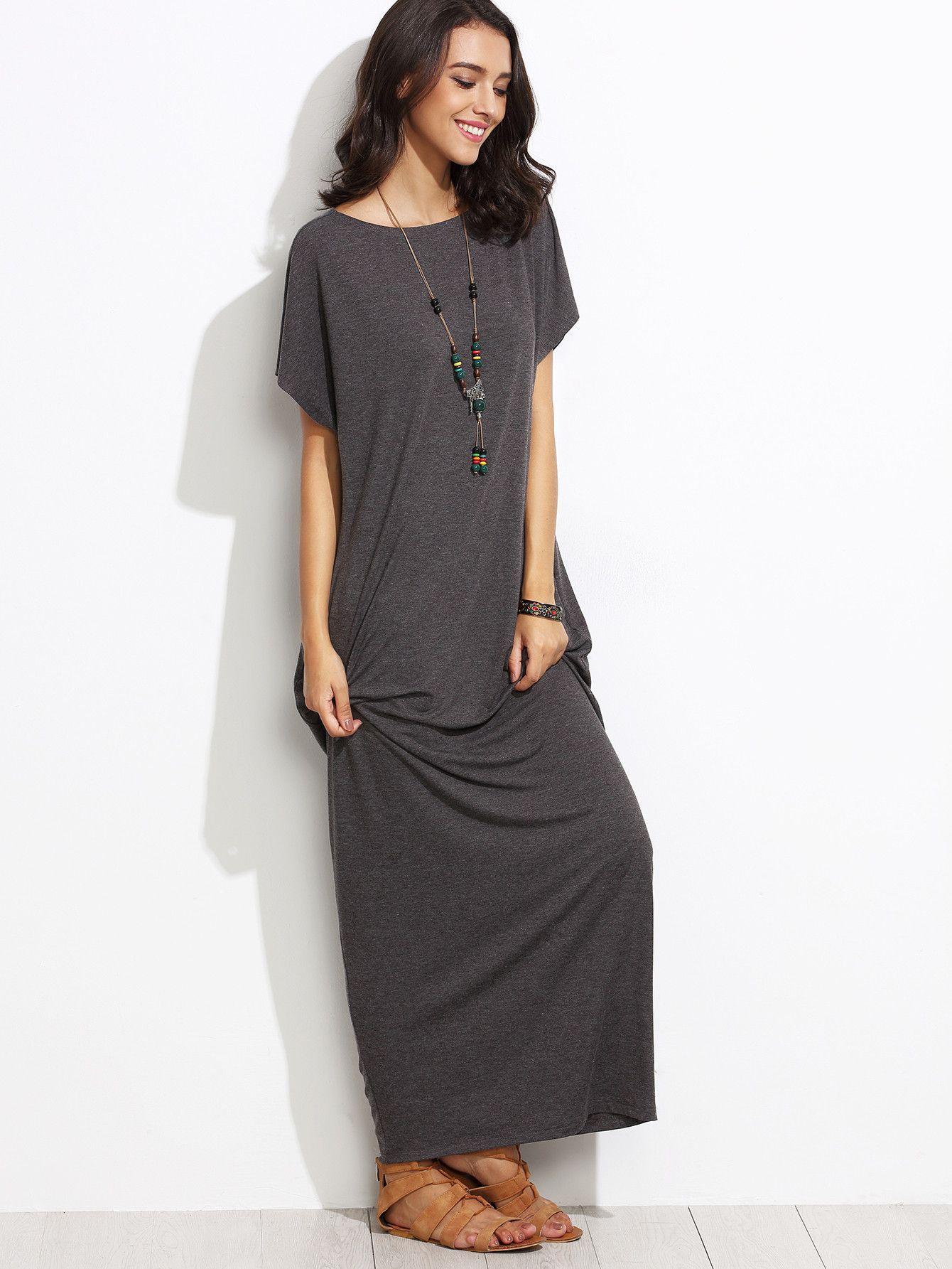 Grey round neck short sleeve cocoon maxi dress short sleeves