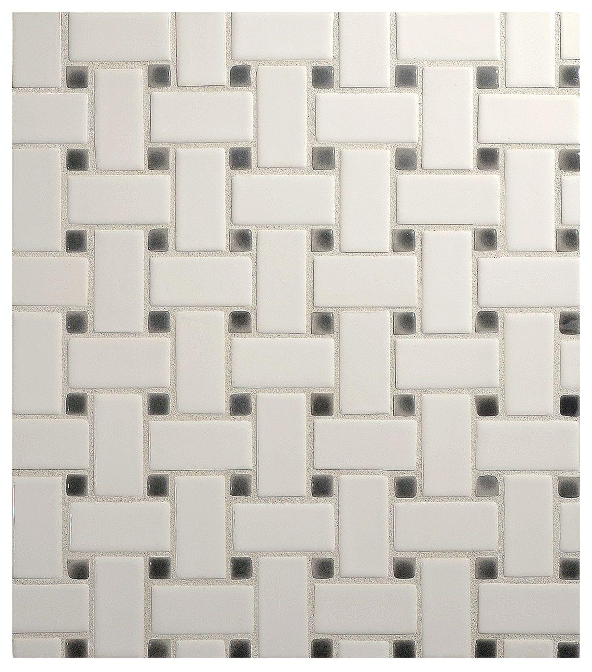 Vermeere ceramic mosaic basketweave gloss tile pinterest complete tile collection vermeere ceramic mosaic basketweave gloss ceramic mosaic tile mi color true white with charcoal grey dots doublecrazyfo Choice Image