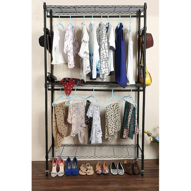 Eliason 47 2 W Double Layer Mesh Garment Rack Clothing Rack Garment Racks Rolling Garment Rack