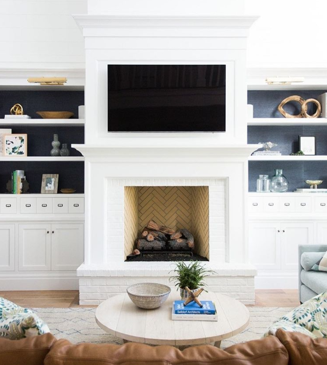 Home Interiorwall Design Ideas: Herringbone In The Fireplace, Shelves. I Like The Simple