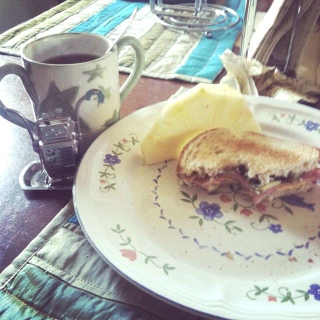Tea 4/6/12: super sandwich, fresh pineapple. Tea: Maven's blend via robot, Pulaski honey sweetened