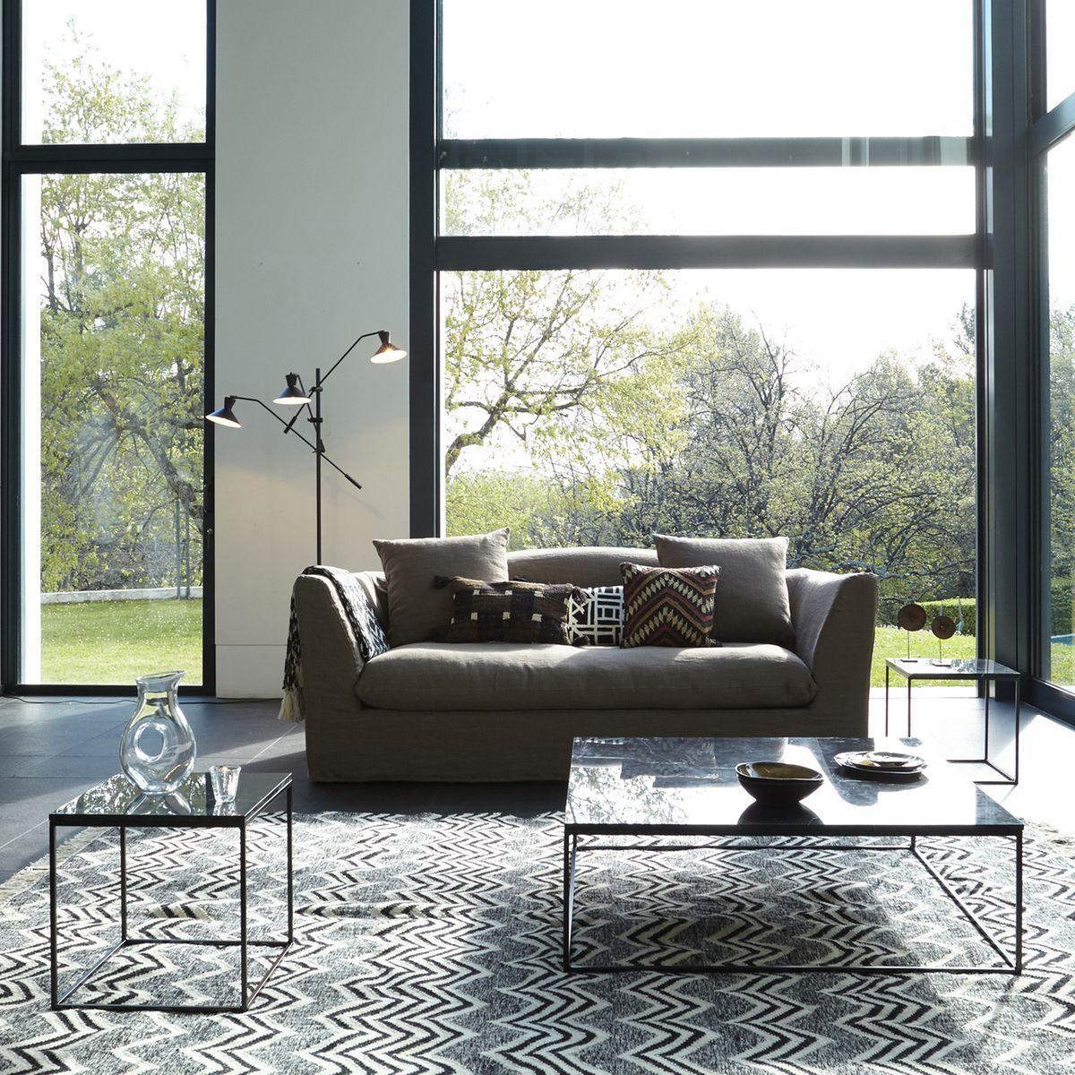 table basse m tal noir et marbre mahaut plateau en marbre marbre noir et solide. Black Bedroom Furniture Sets. Home Design Ideas