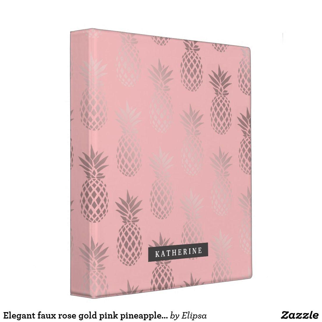 Elegant Faux Rose Gold Pink Pineapple Pattern 3 Ring