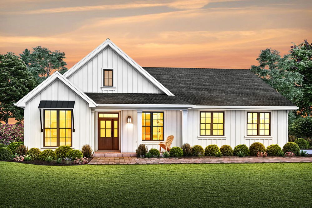 Plan 69753am One Story Modern Farmhouse Plan With A Modest Footprint In 2020 Modern Farmhouse Plans Farmhouse Style House Farmhouse Style House Plans