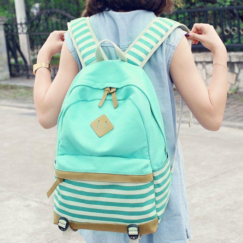 0730d7b5cc22 Canvas Backpack Striped Women Bagpack Teenagers Backpacks For Teenage Teen  Girls Youth Feminine Backpack Girl Mochila Feminina