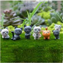 Unglücklich Verärgerte Katze Figuren decor Miniatur Figur mini fee garten aquarium tier statue harz handwerk TNS026(China (Mainland))