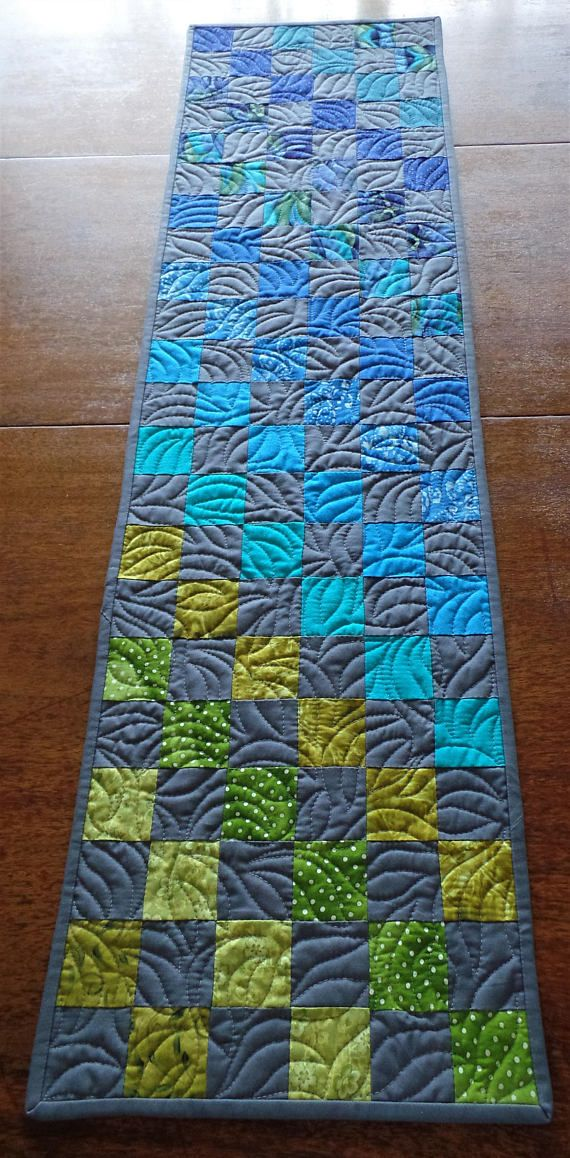 Quilted Modern Table Runnercontemporary Patchwork Table Patchwork Table Runner Modern Table Runners Modern Quilts