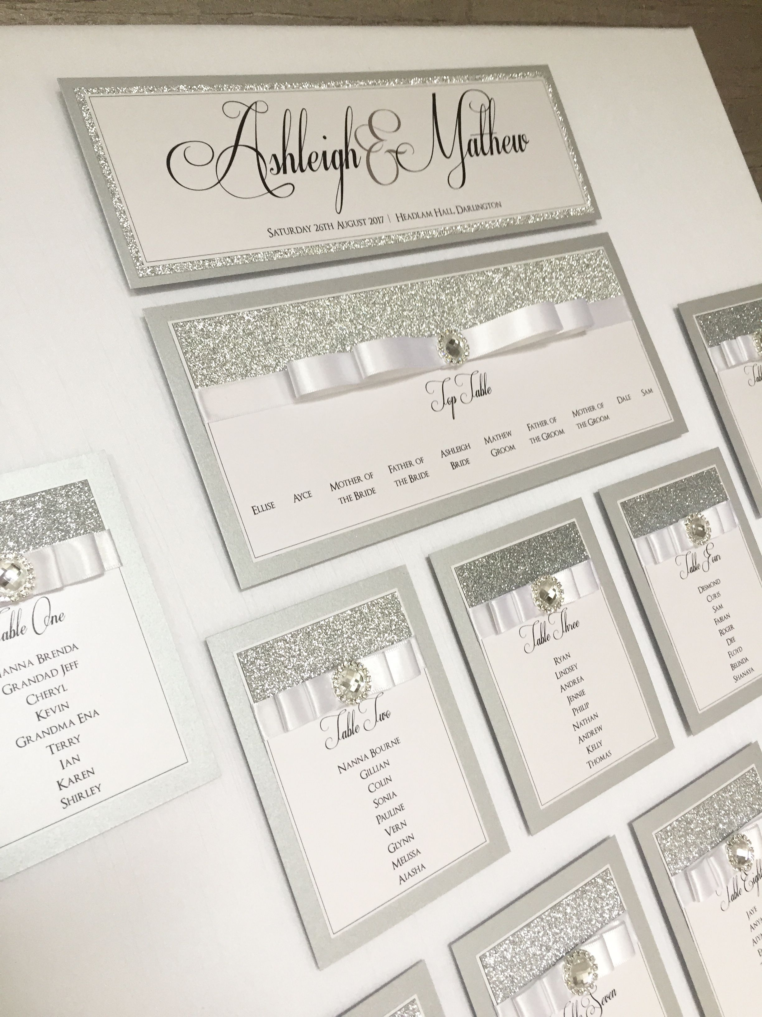 Wedding Table Plan in Silver Glitter & Ice White Pearlescent Shimmer ...