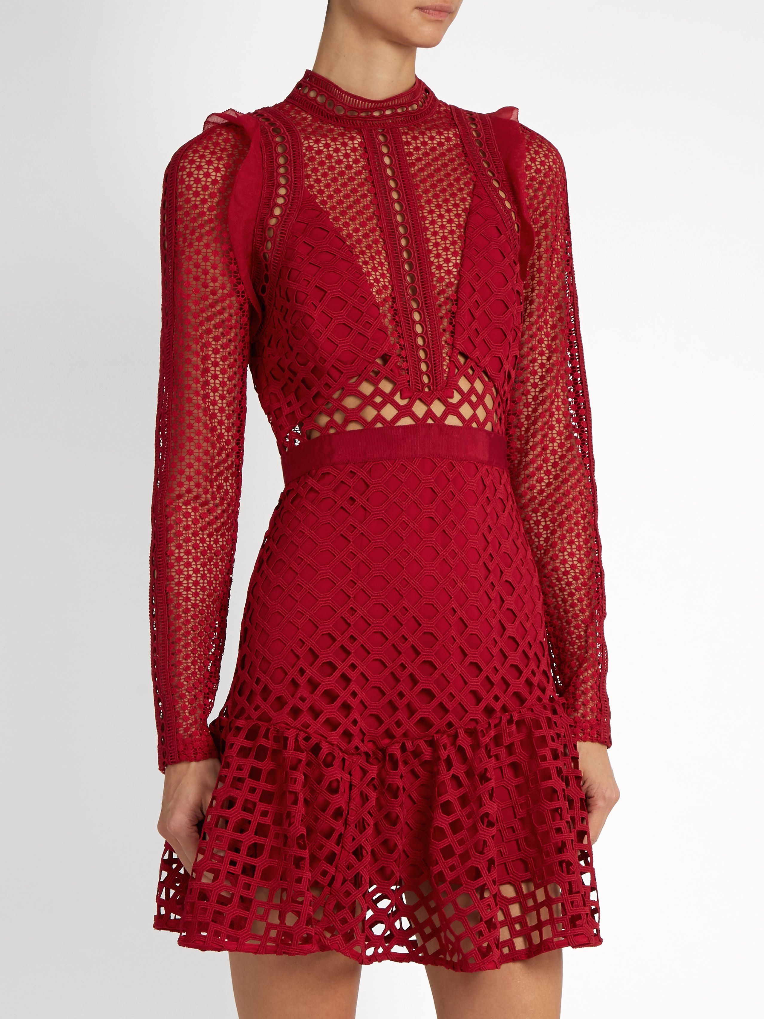 2d5de68f2031 Click here to buy Self-portrait Hall lace mini dress at MATCHESFASHION.COM
