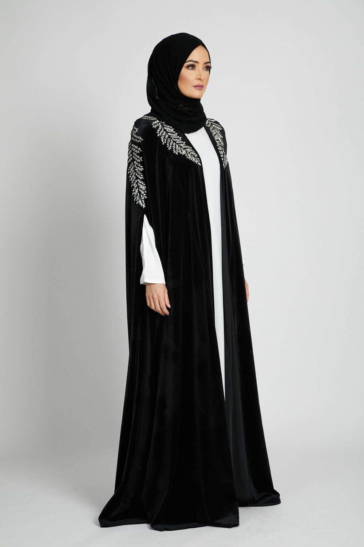 Black Velvet Enchanted Leaf Cape Silver Muslim Fashion Outfits Abayas Fashion Islamic Fashion