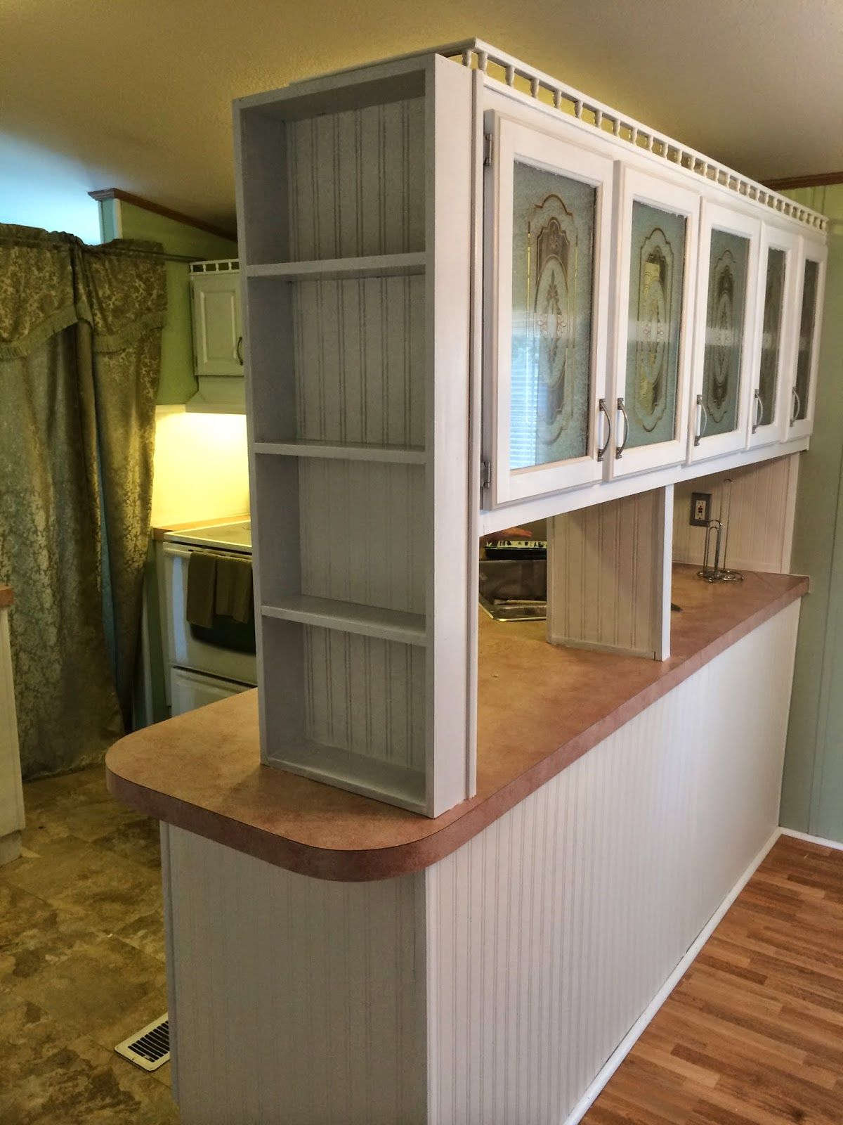 Painting mobile home cabinets! This is kitchen is so ...