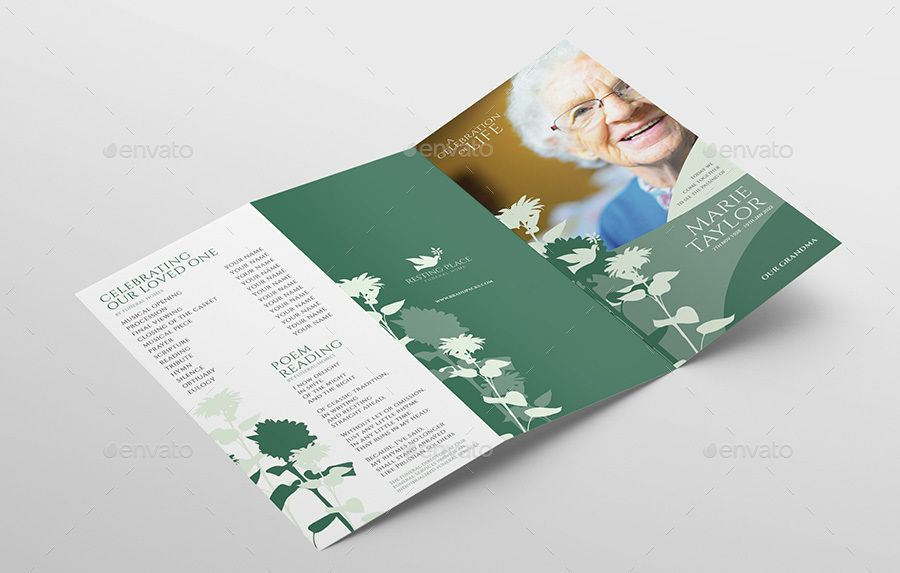 Funeral service trifold brochure template trifold