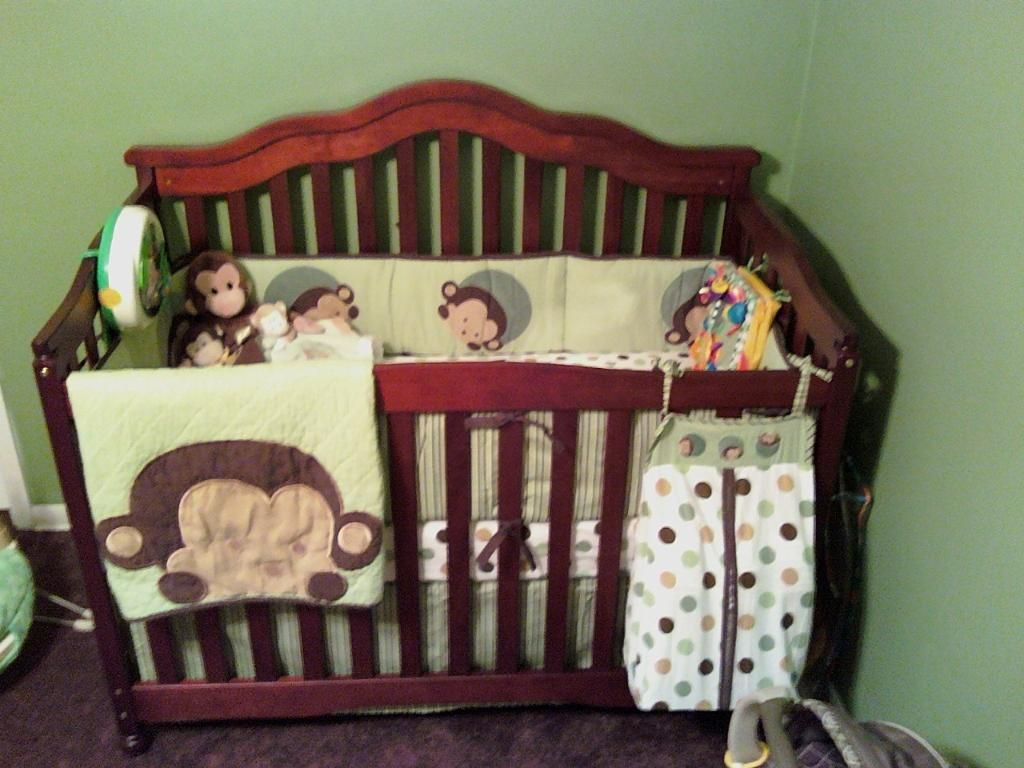 Monkey Crib Bedding Kids Line Mod Pod Pop Monkey 4 Piece Crib