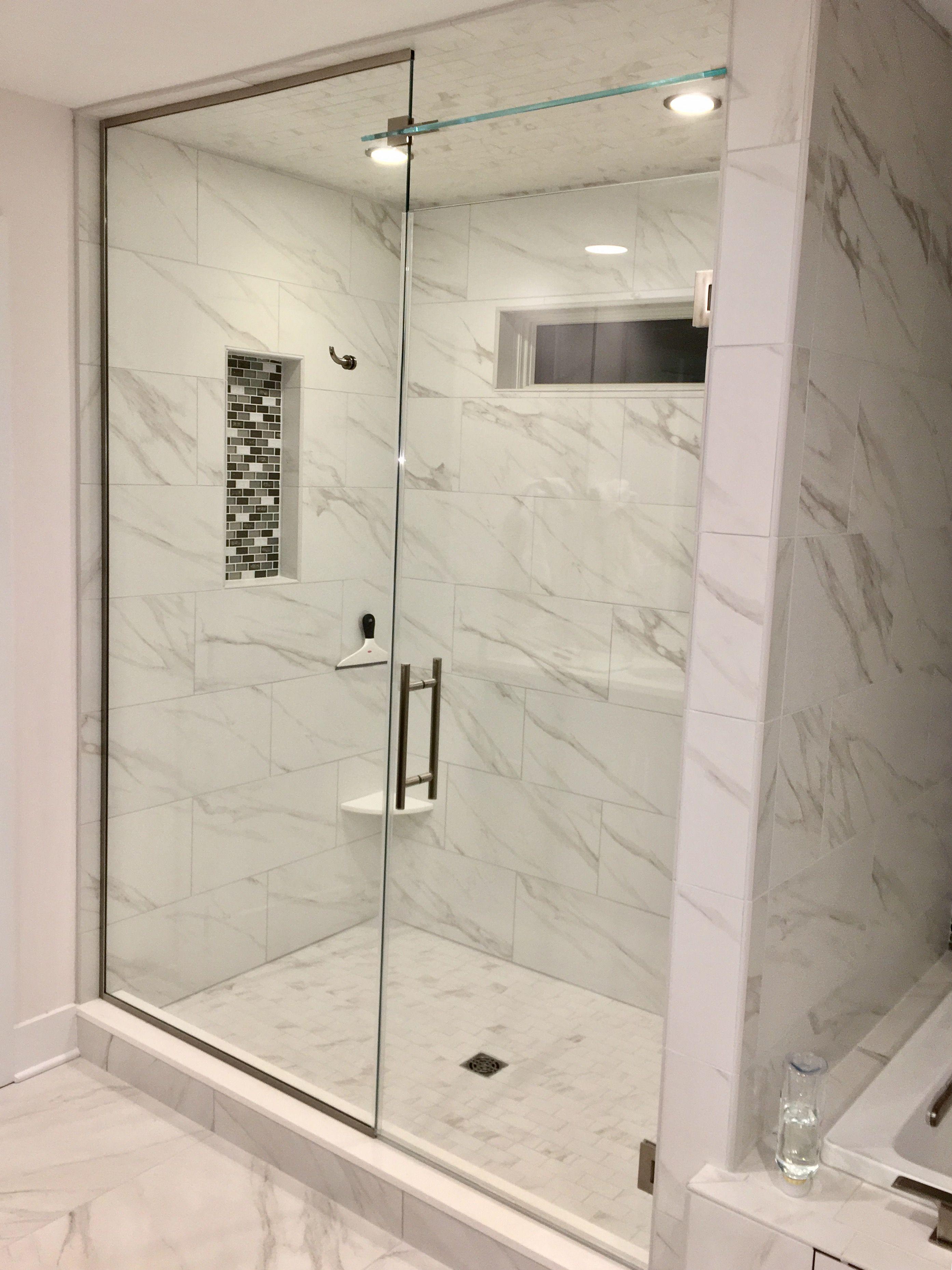 Frameless Shower Enclosure Door Panel Above Door Transom With
