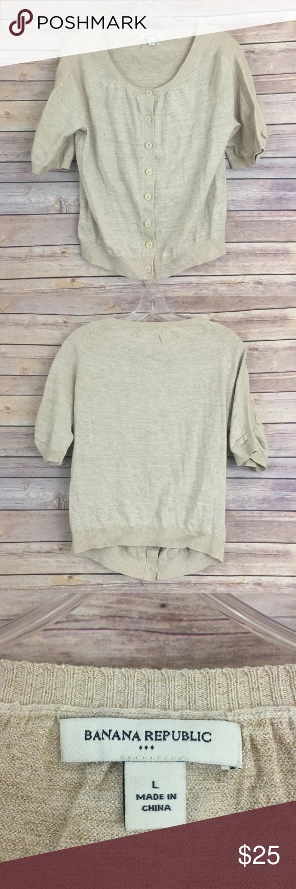 Banana Republic gold shimmer cardigan, L (#212) | Sweater cardigan ...