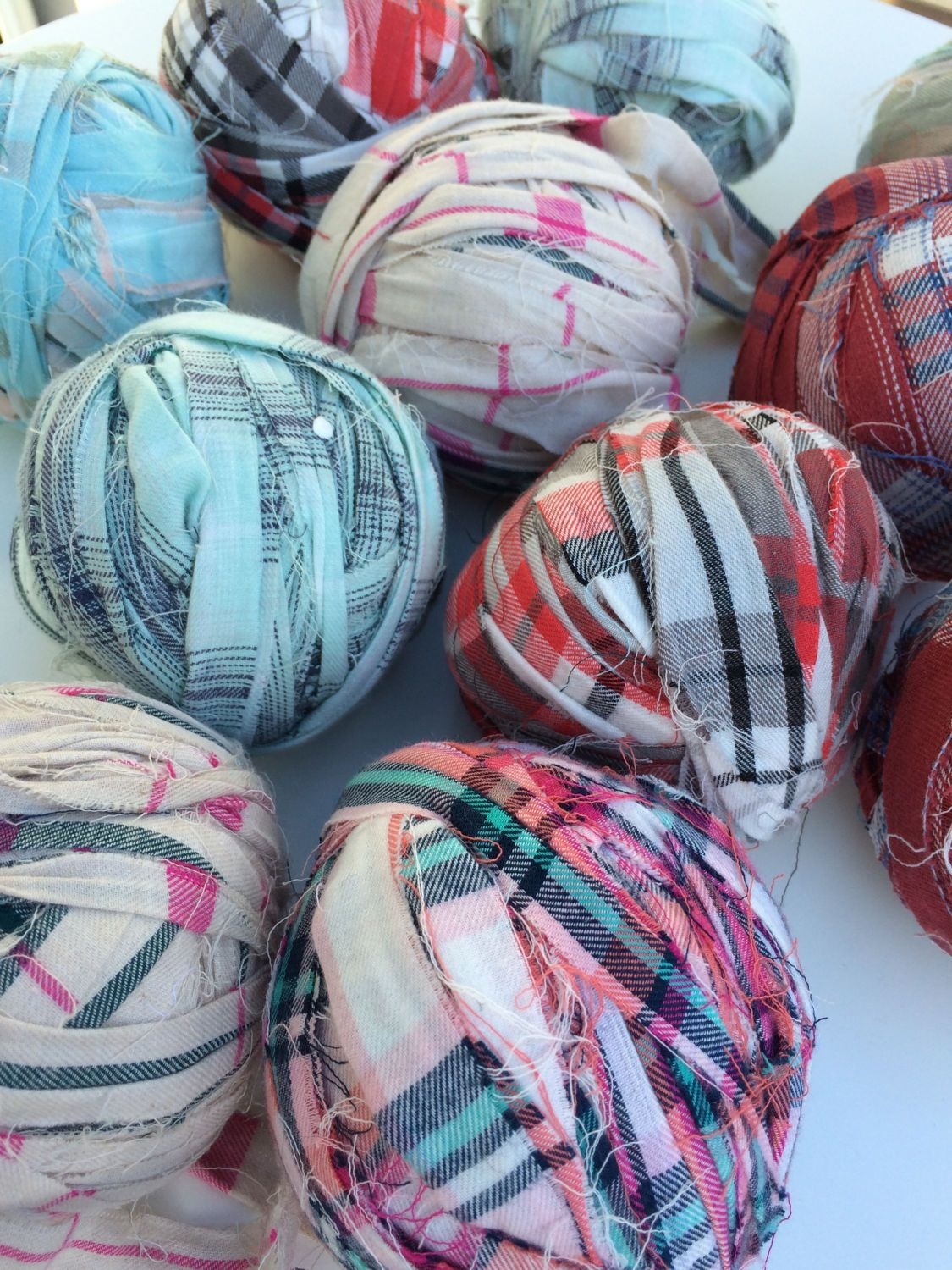 Cotton ribbon balls  Unique recycled cotton yarn  Ribbon
