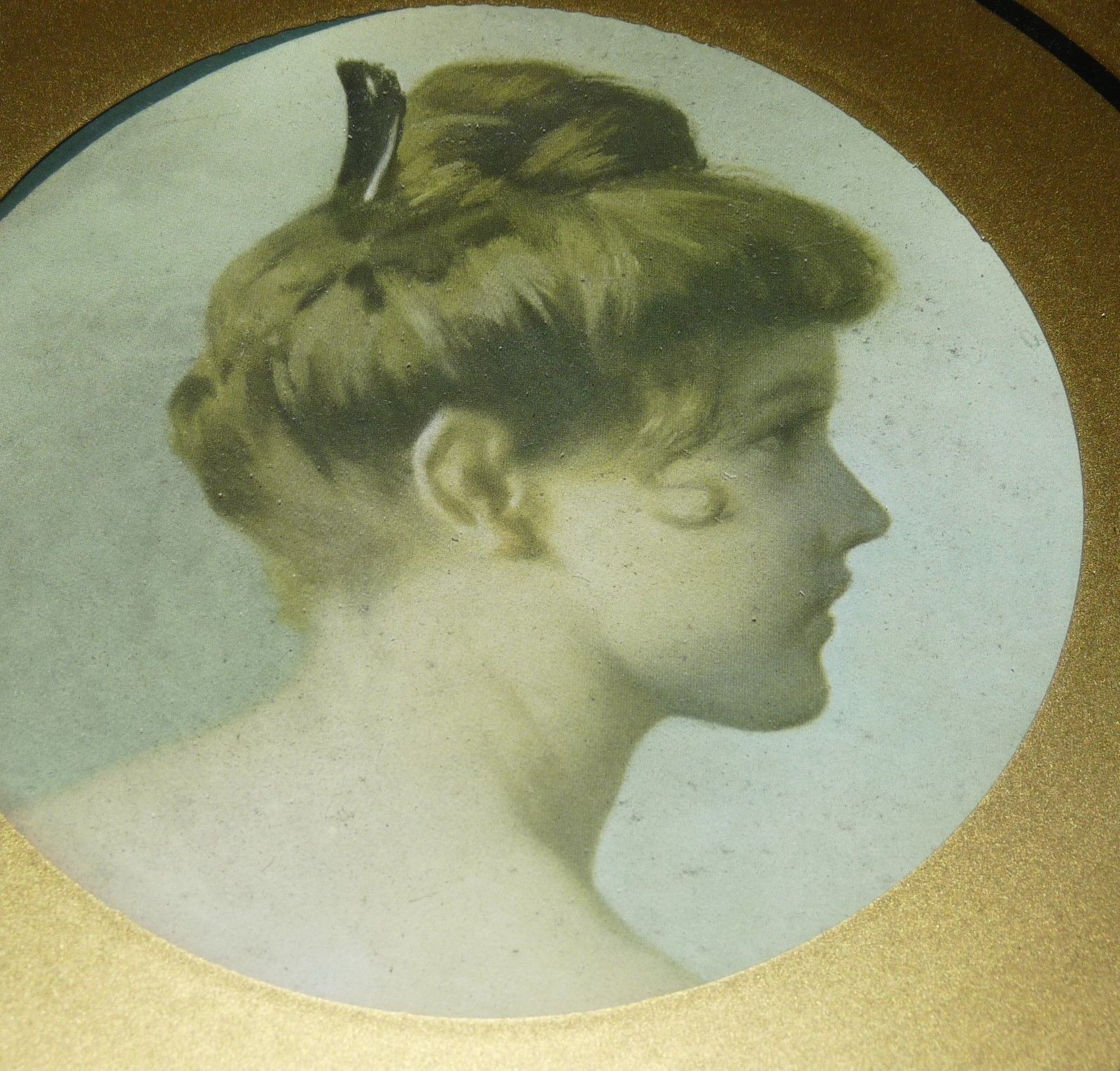 Antique Chimney Flue Cover with Picture Victorian Lady Side Profile | eBay