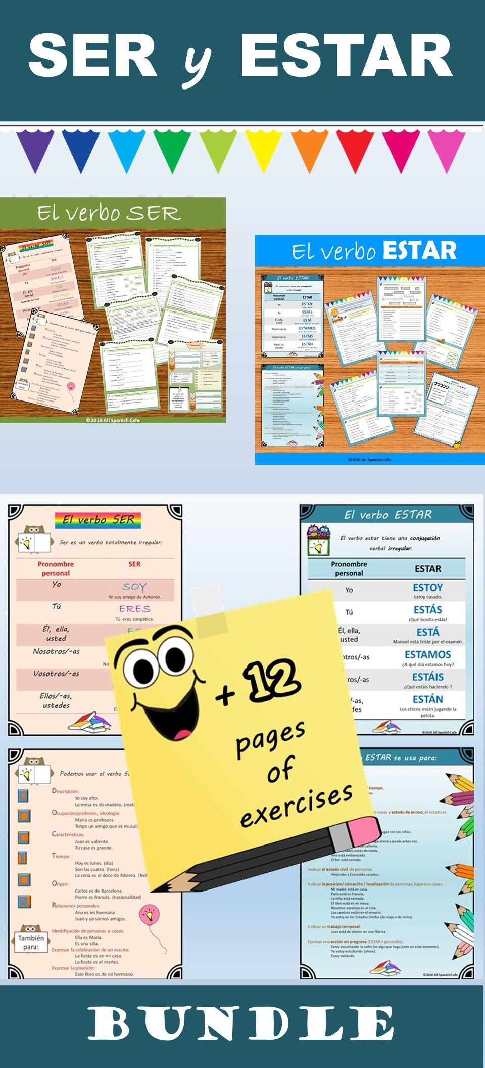 Ser Y Estar Bundle Spanish Teacher Resources Teaching Spanish Spanish Projects [ 2112 x 960 Pixel ]