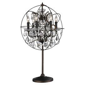 """Showcasing an armillary-inspired silhouette and crystal drop accents, this rust-finished table lamp looks elegant flanking your sofa or placed next to the bed.  Product: Table lampConstruction Material: Metal and crystalColor: RustFeatures: UL listedAccommodates: (6) 150 Watt bulbs - not includedDimensions: 33"""" H x 22"""" W x 20"""" DNote: Assembly required"""