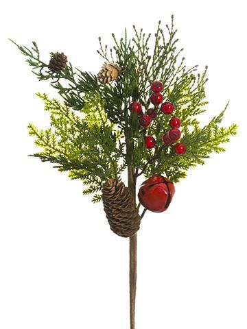 Artificial Cedar Holiday Pick with Red Berries, Pine Cones  Bell