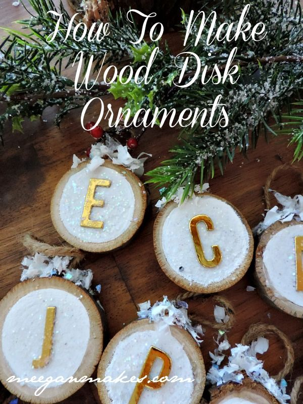 Wood Disk Christmas Ornaments