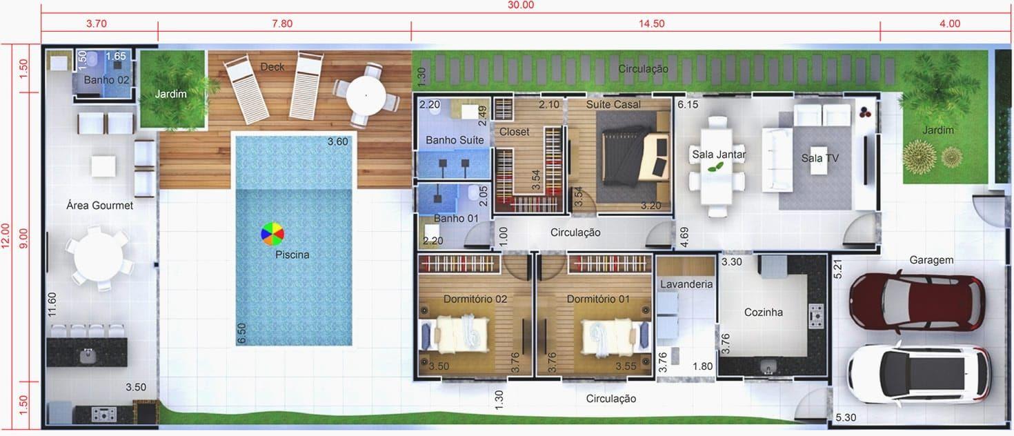 Planta de casa com ed cula e piscina planta para terreno for Casa moderna 90m2