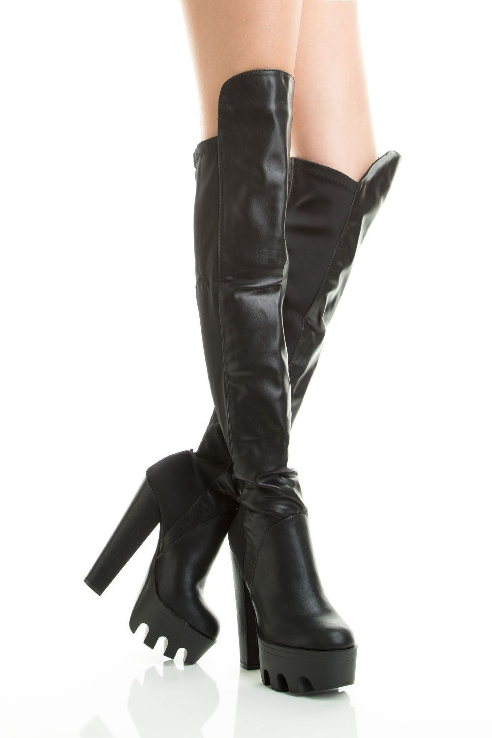 Black Lug Sole Almond Toe Chunky Heel Thigh Over The Knee Boots ...