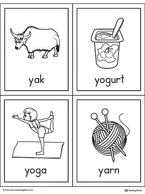 Letter Y Words And Pictures Printable Cards Yak Yogurt Yoga Yarn Y Words Printable Cards Picture Letters