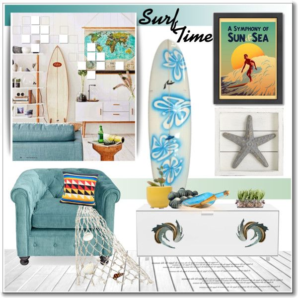 Surf Time by deeyanago on Polyvore featuring polyvore, interior, interiors, interior design, home, home decor, interior decorating, Dot & Bo, Pier 1 Imports and Maurizio Galante