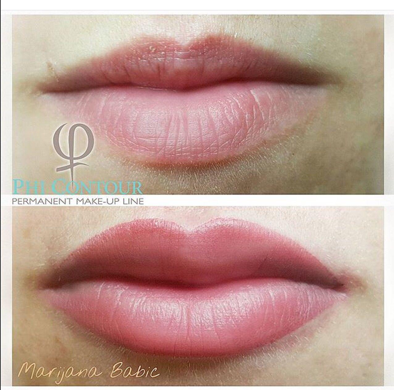 Colour. Extended top lip. Perfect. Lip permanent makeup