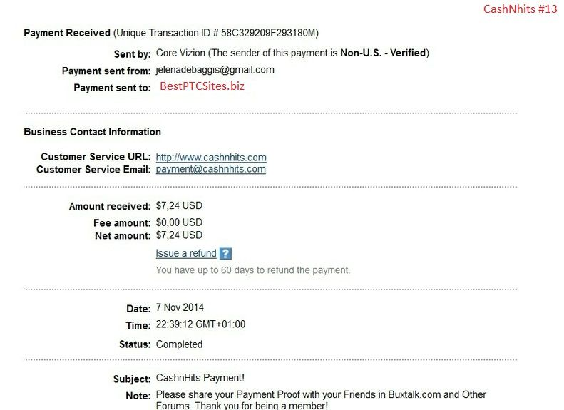 CashNhits Payment Proof $7,24 http\/\/bestptcsitesbiz My Payment - payment received receipt
