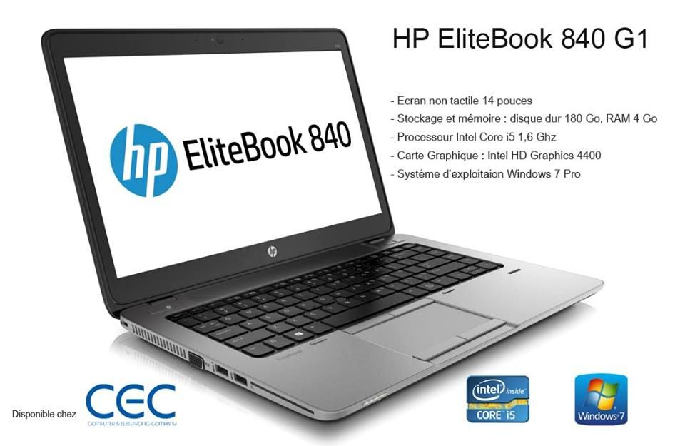 HP EliteBook 840 G1 Intel Core i5 4200U 1,6 GHz 180 Go 4096 Mo Intel HD  Graphics 4400 Windows 7 Pro. 31c90f0787bb