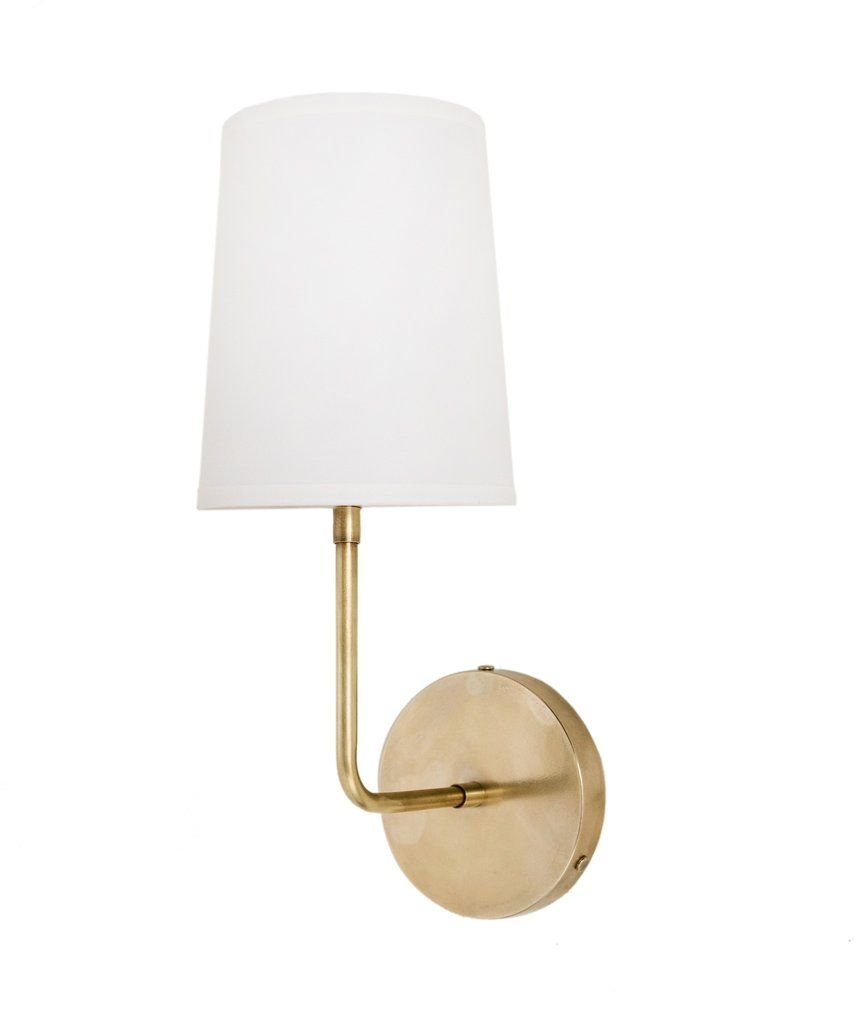 Fillmore Wall Sconce With Linen Shade Antique Brass Tall - Antique brass bathroom sconces