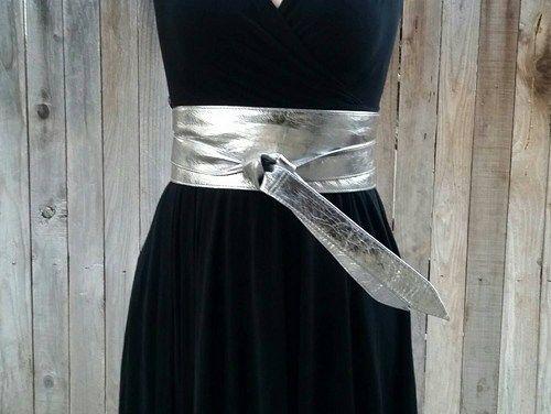 Silver obi leather belt bright silver wide wrap belts