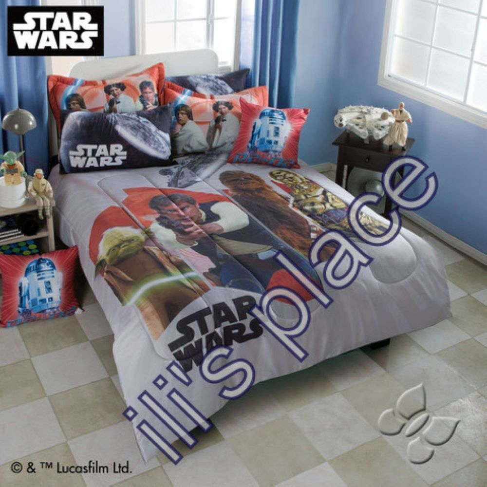 full color boys comforter theme kids bedding pin twin animated movie character starwars graphic wars star