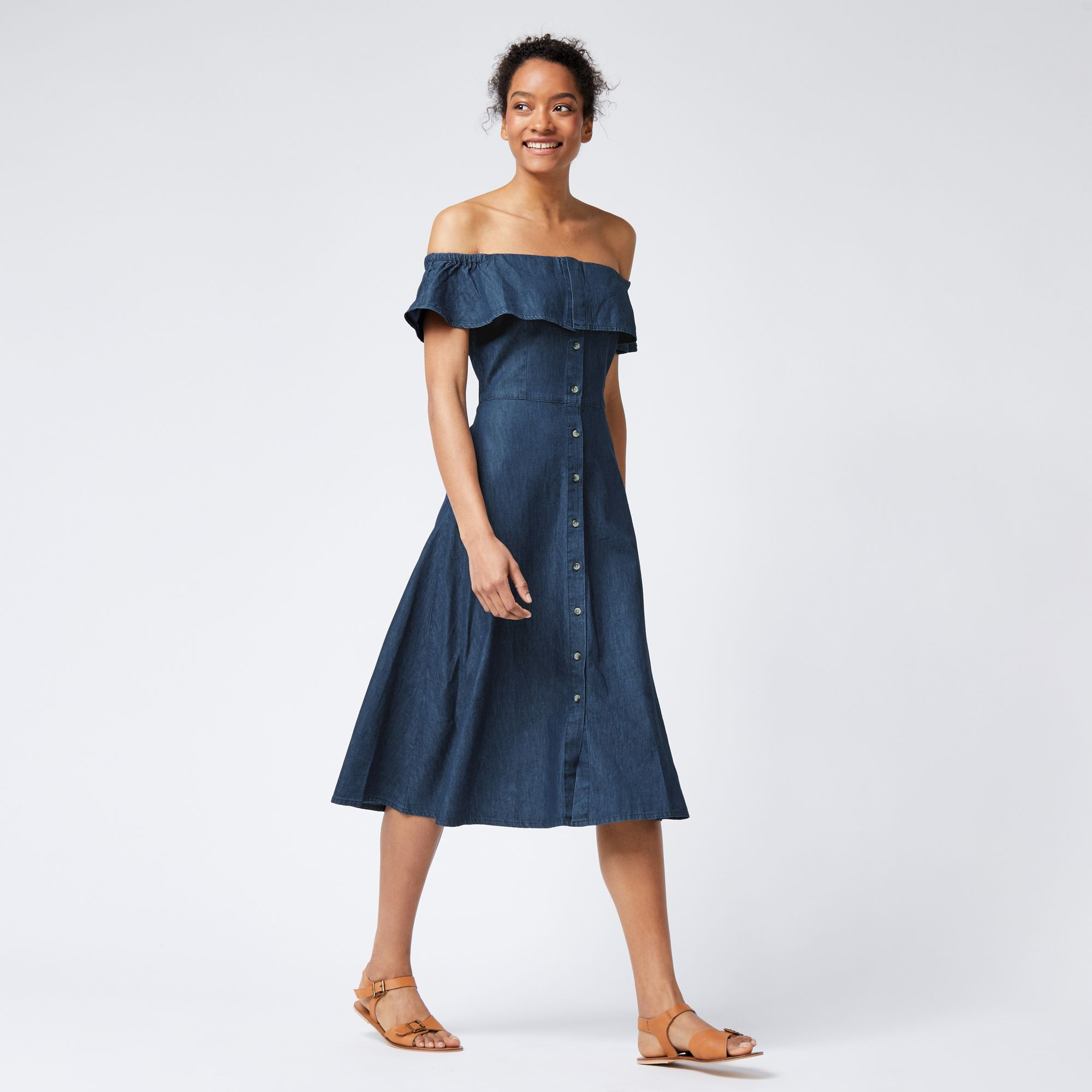 Warehouse, Bardot Ruffle Dress Mid Wash Denim 2