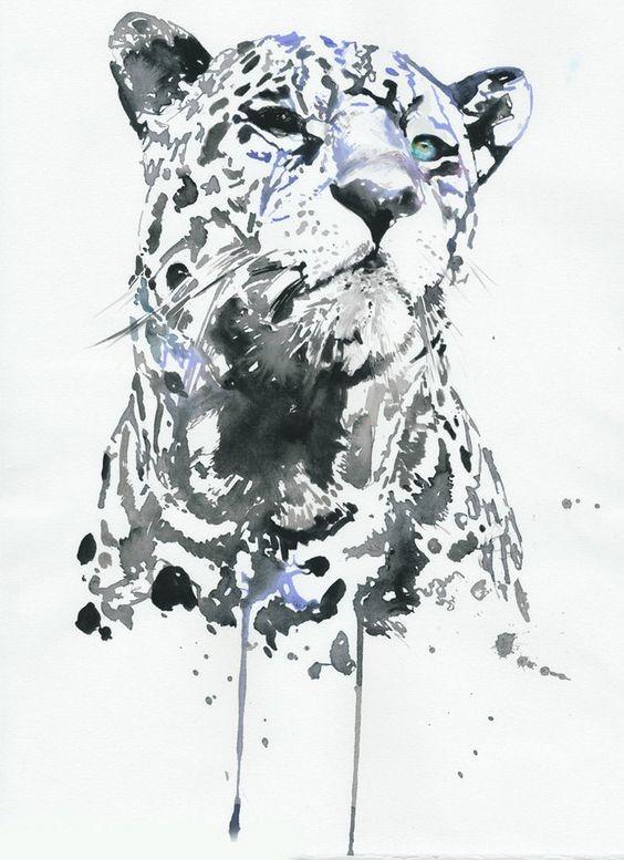 Splendid_watercolor_snow_leopard_tattoo_design.jpg (564×777) | CNC ...