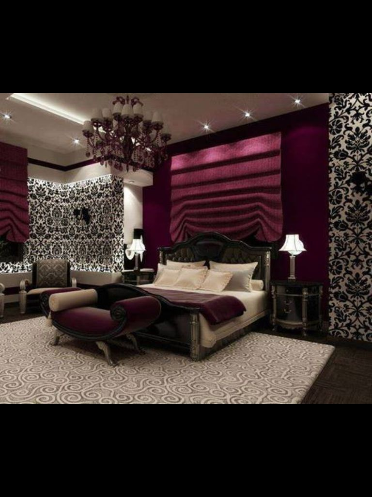 Love this such a romantic bedroom with black and white wallpaper and plum purple colour - Purple black and white room ideas ...