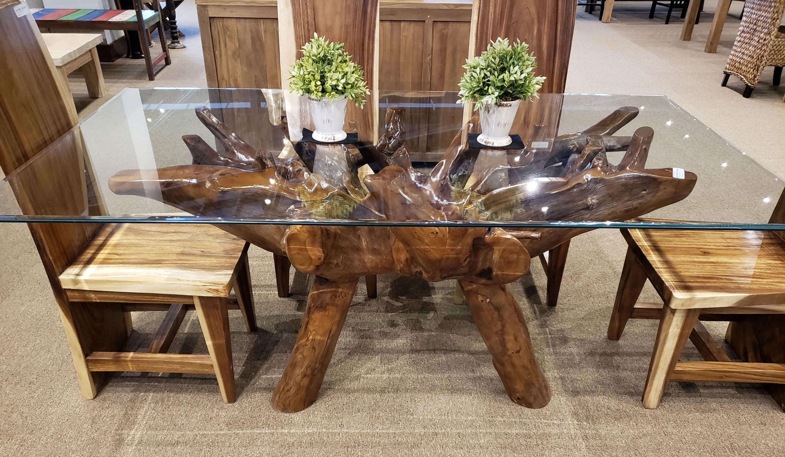 Teak Wood Root Dining Table Including A 71 X 40 Inch Glass Top By