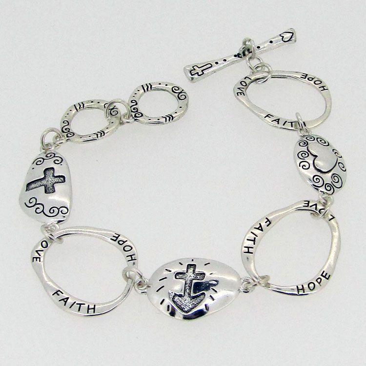 Faith Hope Love Bracelet Affordable Costume Jewelry Purple Box
