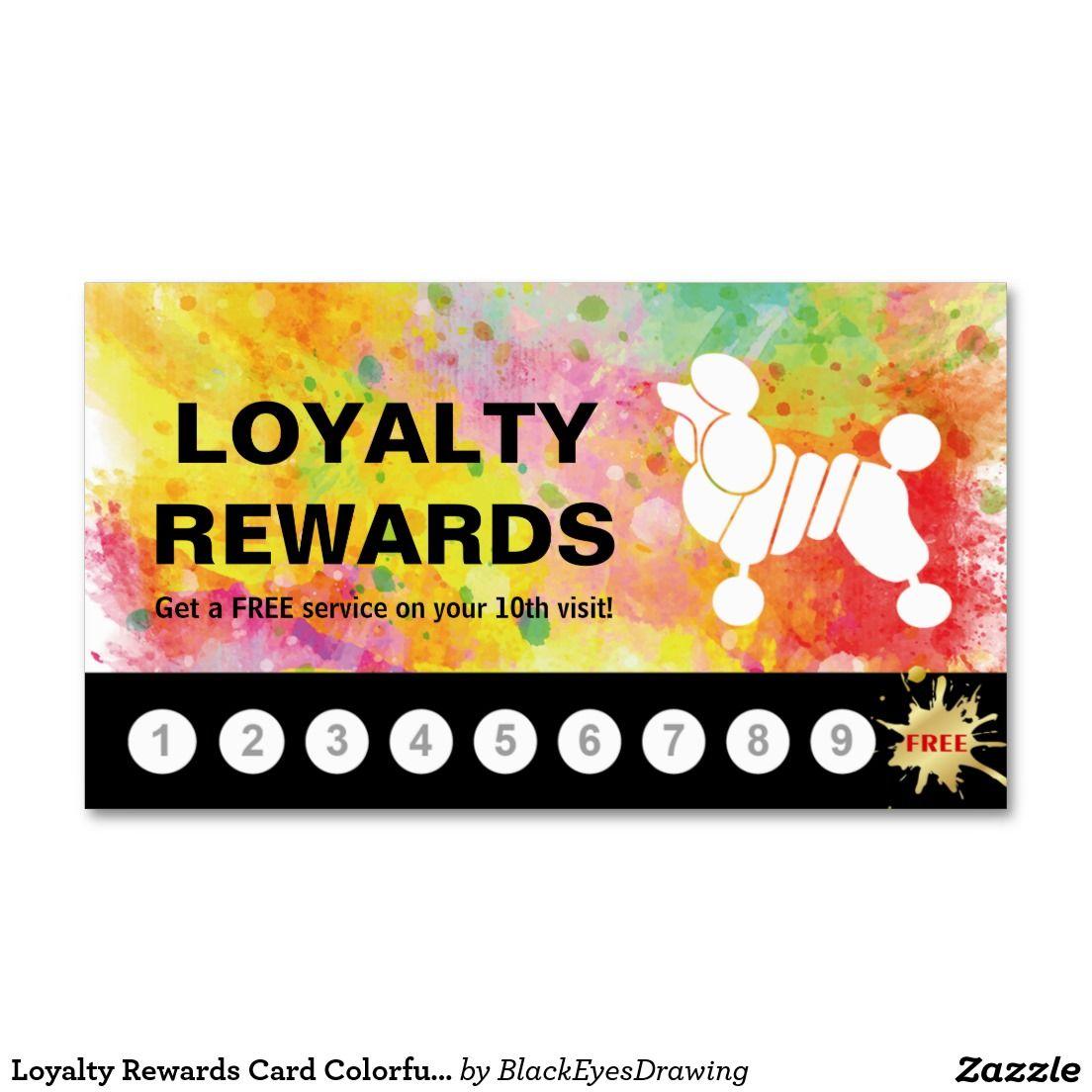 Loyalty Rewards Card Colorful Poodle Grooming | Poodle grooming ...