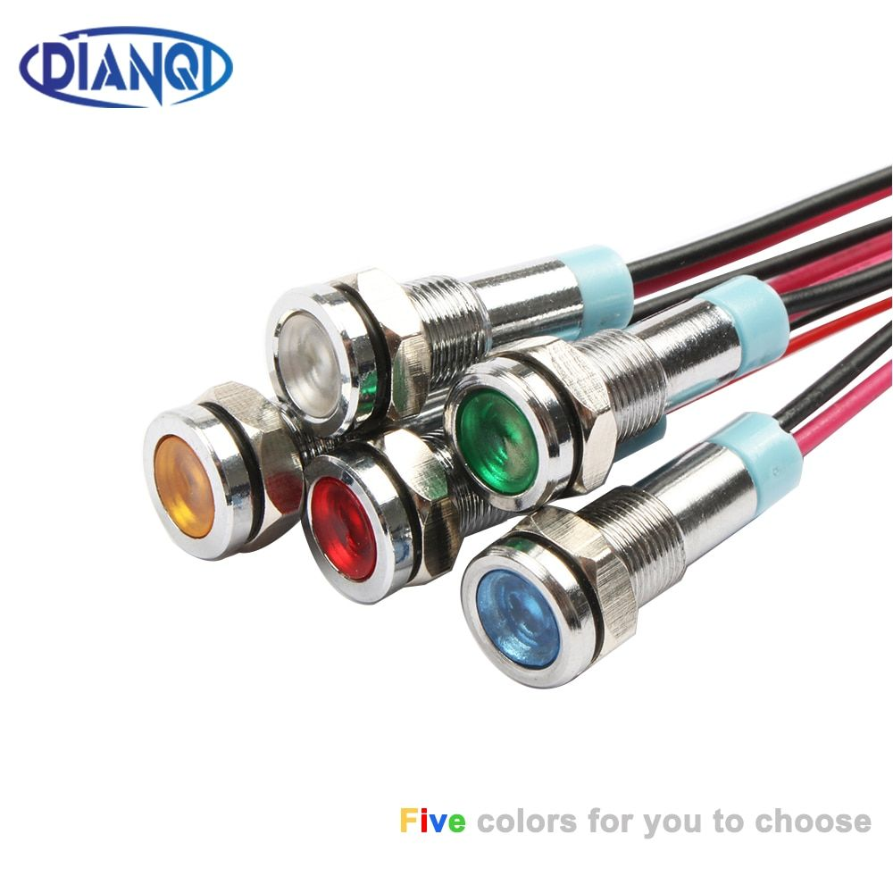 6mm Led Metal Indicator Light 6mm Waterproof Signal Lamp 6v 12v 24v 220v With Wire Red Yellow Blue Green White 6zsd X Metal In 2020 Indicator Lights Lead Metal Led
