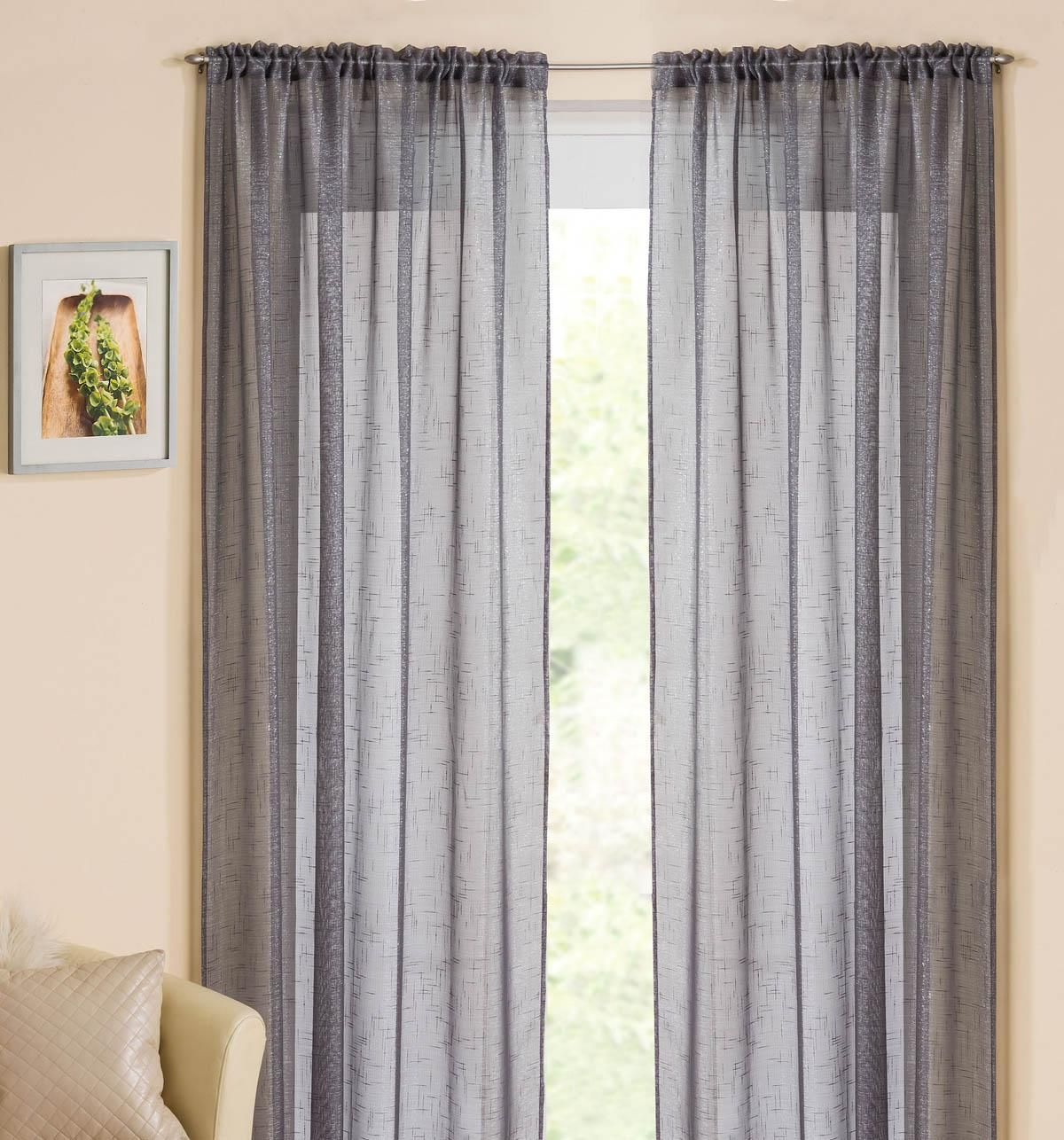 Hallway furniture b&m  Casablanca Rod Pocket Voile Panel Grey  Affordable Curtain Voiles