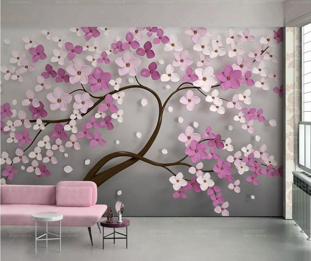 Beibehang A Tree Flower Murals Wallpaper 3d Tv Background Large Wall Painting Wallpapers For Living Room Mural Floral Wall Paper Aliexpress In 2020 Living Room Murals Large Wall Paintings Tree Wall Murals