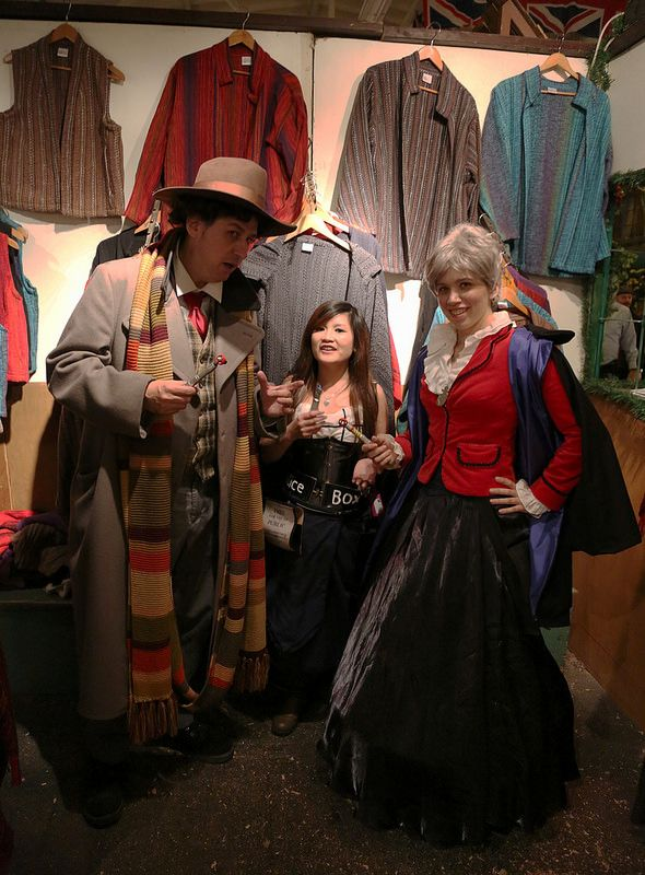Fourth Doctor Who, Tardis, and Second Doctor Who, at Shuttle Creek Weaving
