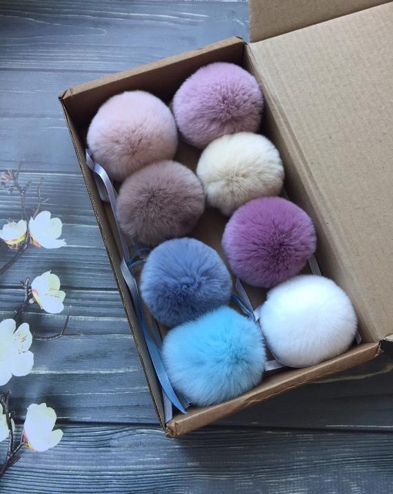 8 Rabbit Real Fur Fluffy Pom Poms For Baby Hat Shoes Pom Pom