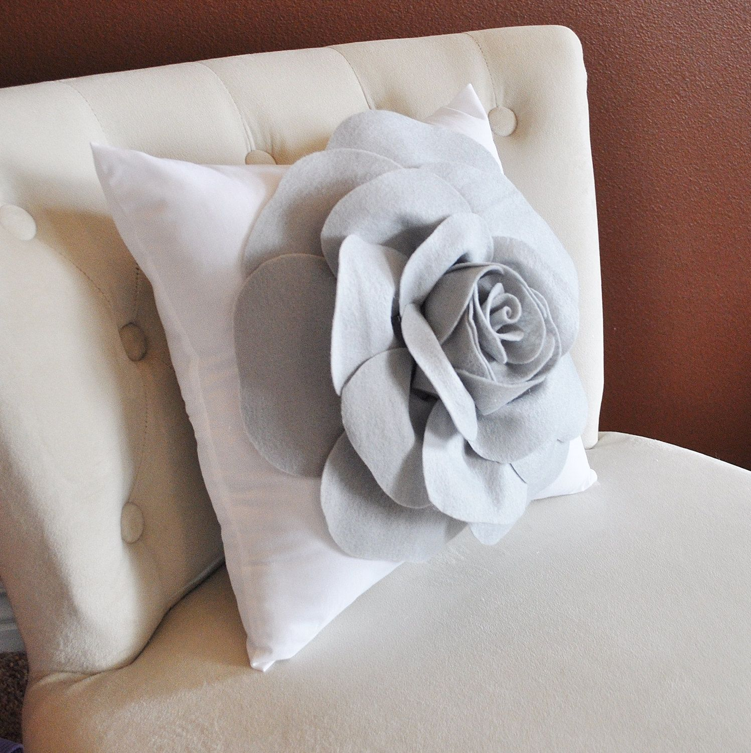 Grey Rose On White Pillow By Bedbuggs On Etsy 35 00 Pillows