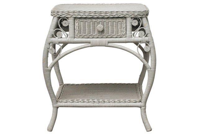 Wicker Side Table W/ Drawer